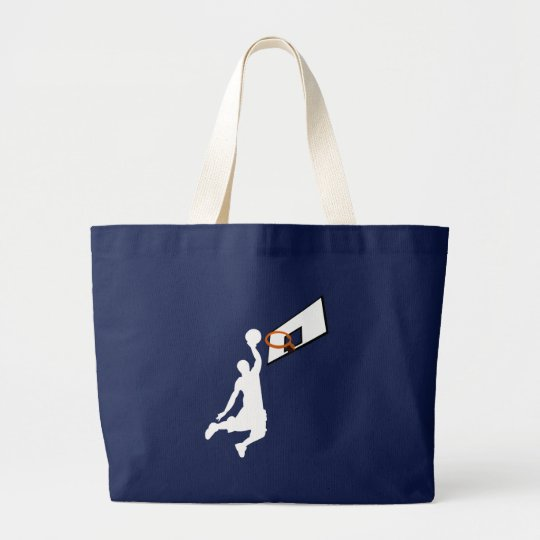 Slam Dunk Basketball Player - White Silhouette Large Tote Bag