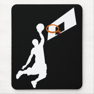 Slam Dunk Basketball Player - White Silhouette Mouse Pad