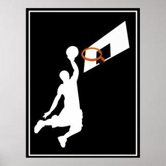 Slam Dunk Basketball Player - White Silhouette Poster