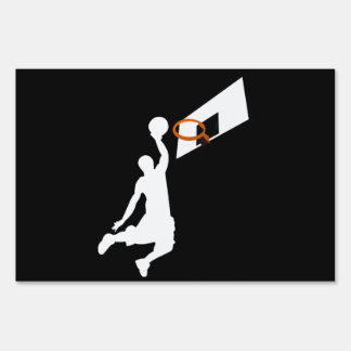 Slam Dunk Basketball Player - White Silhouette Signs