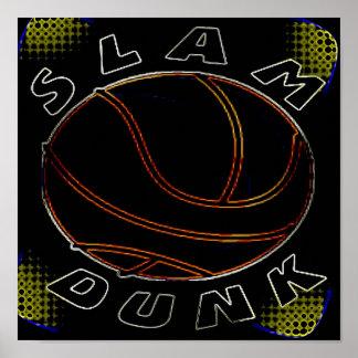 SLAM DUNK NEON BASKETBALL POSTER