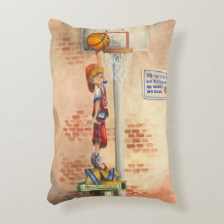 Slam Dunk on Basketball Hoop by Jay Throckmorton Accent Pillow