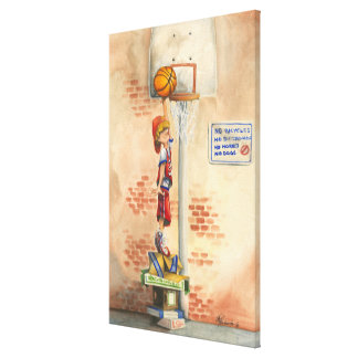 Slam Dunk on Basketball Hoop by Jay Throckmorton Canvas Print