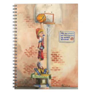Slam Dunk on Basketball Hoop by Jay Throckmorton Spiral Note Book