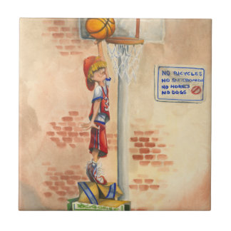 Slam Dunk on Basketball Hoop by Jay Throckmorton Tile