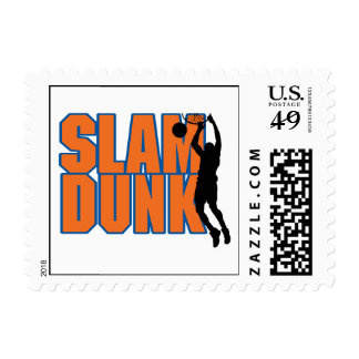 slam dunk text orange and blue postage stamps