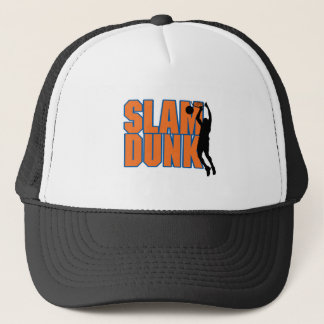 slam dunk text orange and blue trucker hat