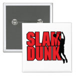 slam dunk text red and black 2 inch square button