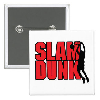 slam dunk text red and black pinback buttons