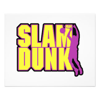 slam dunk text yellow and purple flyer design