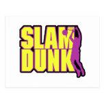 slam dunk text yellow and purple postcard