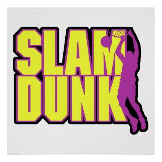 slam dunk text yellow and purple poster