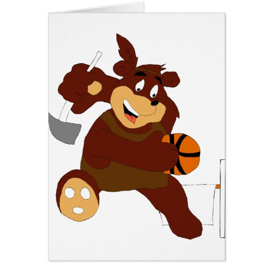 Slam Dunking Cartoon Bear Card