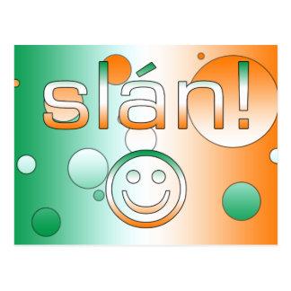 ¡Slán! La bandera de Irlanda colorea arte pop Tarjeta Postal