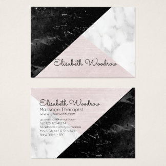 Slanted  Black, White Marble Pink Silk Geometric Business Card