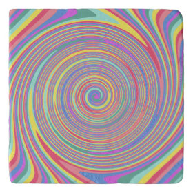 Slanted Lines Color Swirl Stone Trivets