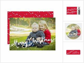 Slanted Merry Christmas Holiday Photo Cards