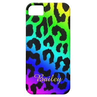 Slanted Rainbow Cheetah Print Phone Case iPhone 5 Cover