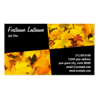 Slanted Rectangles and Autumn Leaves Business Card