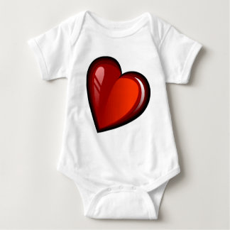 SLANTED RED CANDY APPLE HEART BABY BODYSUIT