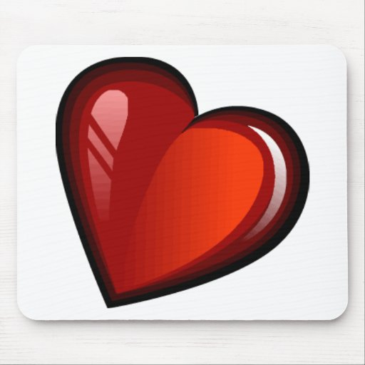 SLANTED RED CANDY APPLE HEART MOUSE PAD