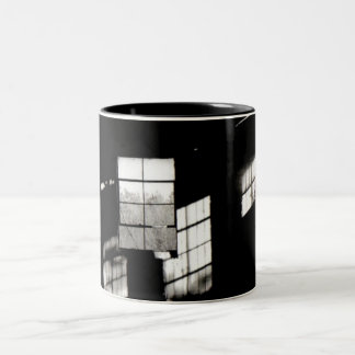 Slanted Reflections on a Still Window (Zoomed) Two-Tone Coffee Mug