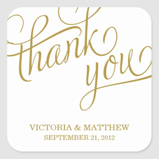 SLANTED WEDDING THANK YOU LABEL