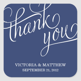 SLANTED | WEDDING THANK YOU LABEL SQUARE STICKER