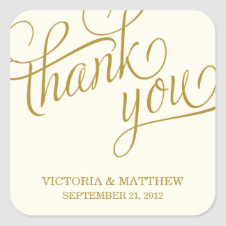 SLANTED | WEDDING THANK YOU LABEL SQUARE STICKER