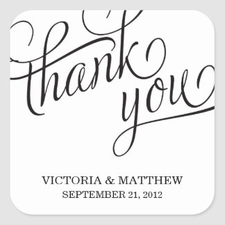 SLANTED WEDDING THANK YOU LABEL SQUARE STICKERS