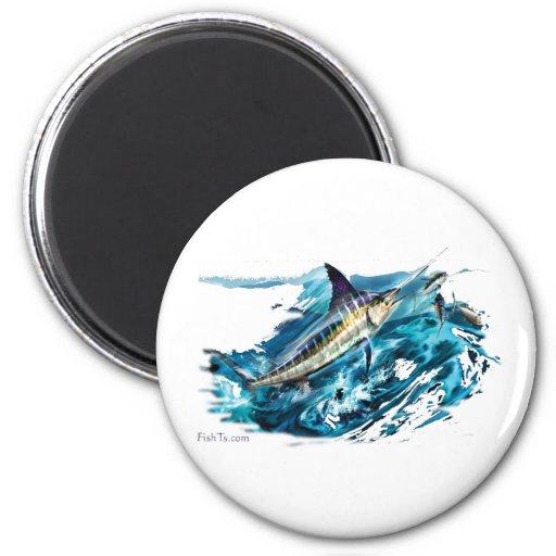 Slashing Marlin Jumping with Tuna 2 Inch Round Magnet