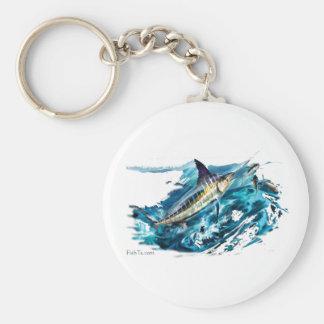 Slashing Marlin Jumping with Tuna Basic Round Button Keychain