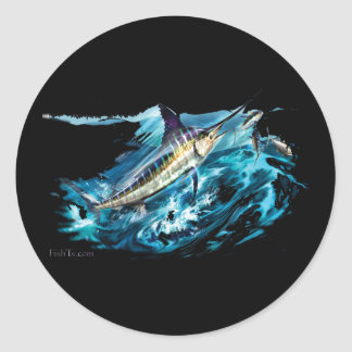 Slashing Marlin Jumping with Tuna Classic Round Sticker