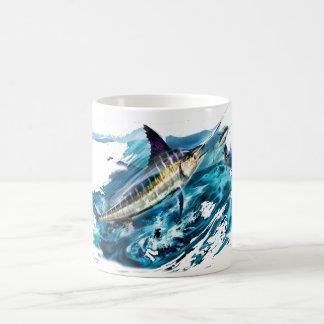 Slashing Marlin Jumping with Tuna Coffee Mug