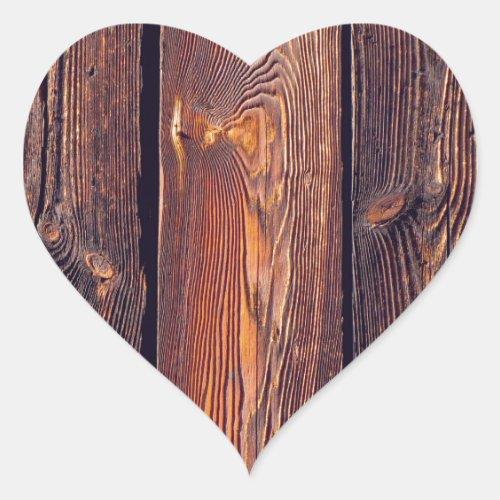 Slat Pattern Wood Planks Heart Sticker