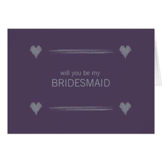 Slate and Indigo Be My Bridesmaid Card