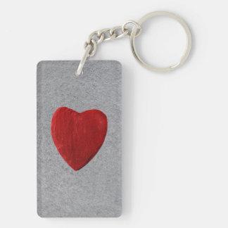Slate background with heart keychain