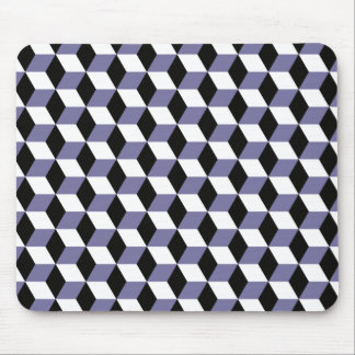 Slate, Black & White 3D Cubes Pattern Mouse Pad