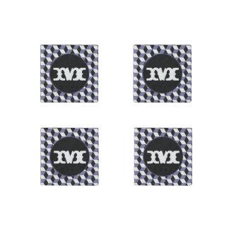 Slate, Black & White 3D Cubes Pattern Stone Magnet