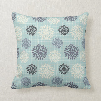 Slate Blue Abstract Floral Pillow