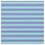 [ Thumbnail: Slate Blue and Aquamarine Stripes/Lines Pattern Fabric ]