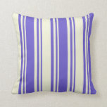 [ Thumbnail: Slate Blue and Beige Colored Lines Pattern Pillow ]