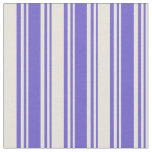 [ Thumbnail: Slate Blue and Beige Colored Stripes Fabric ]