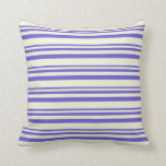 [ Thumbnail: Slate Blue and Beige Striped/Lined Pattern Pillow ]