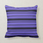 [ Thumbnail: Slate Blue and Black Lines Throw Pillow ]