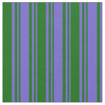 [ Thumbnail: Slate Blue and Dark Green Colored Stripes Fabric ]