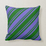 [ Thumbnail: Slate Blue and Dark Green Colored Stripes Pillow ]