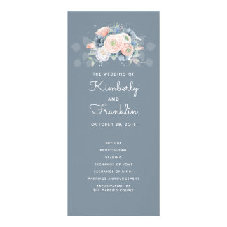 Slate Blue and Dusty Rose Floral Wedding Programs