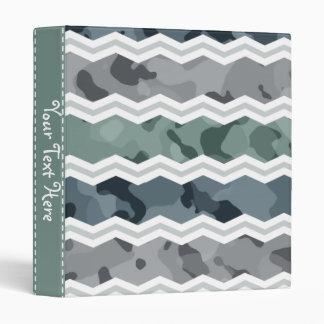 Slate Blue and Gray Camo Chevron Pattern Vinyl Binder