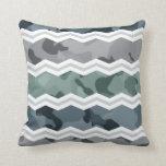 Slate Blue and Gray Camo Chevron Pattern Pillow